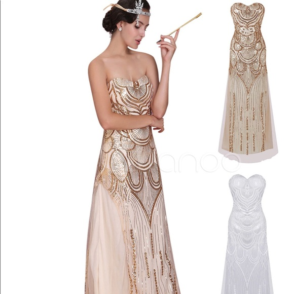 1920s Long Gold Flapper Dress Costume